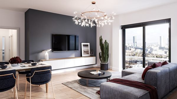 Amplify Apartments penthouse lounge, Salford Quays, Greater Manchester